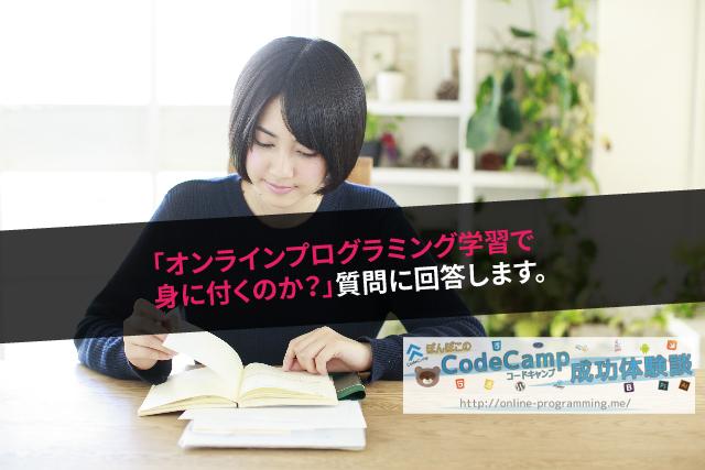 「オンラインプログラミング学習で身に付くのか?」質問に回答します。
